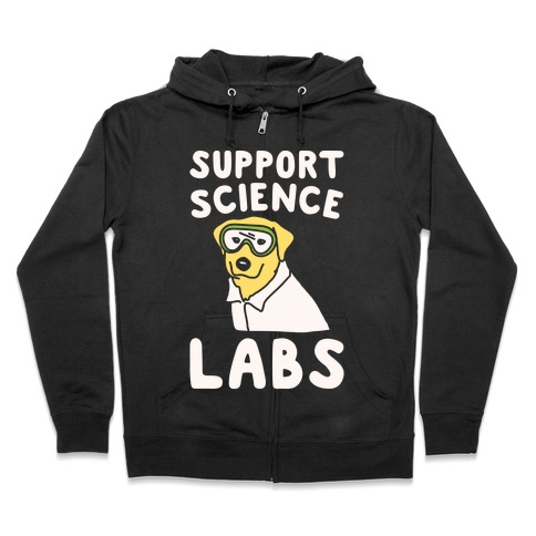 Support Science Labs White Print Zip Hoodie