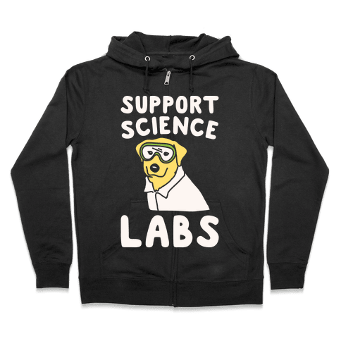 Support Science Labs White Print Zip Hoodie