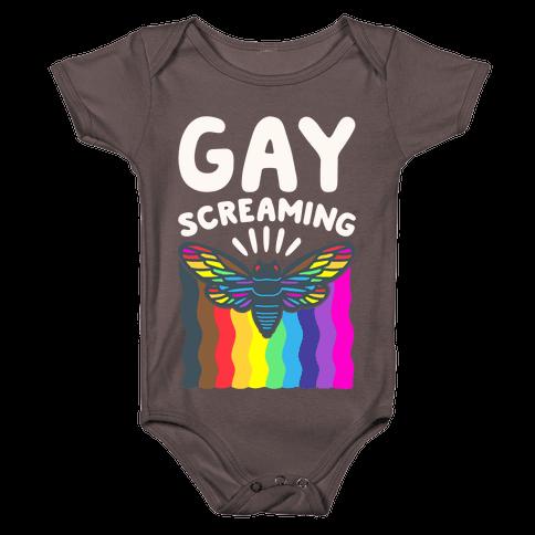 Gay Screaming Cicada Parody White Print Baby One-Piece