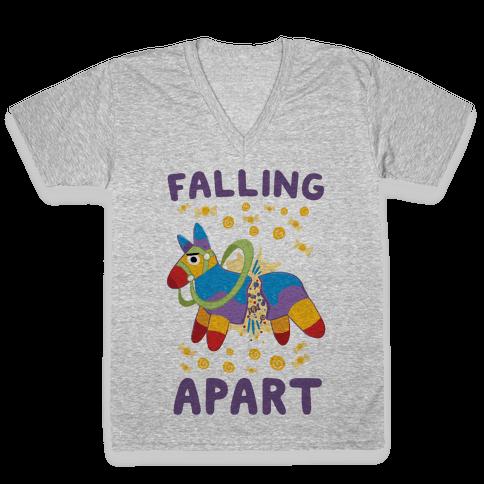 Falling Apart Pinata V-Neck Tee Shirt