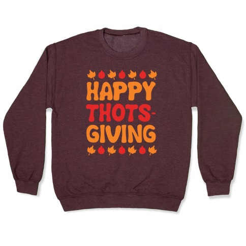 Happy Thots-Giving White Print Pullover