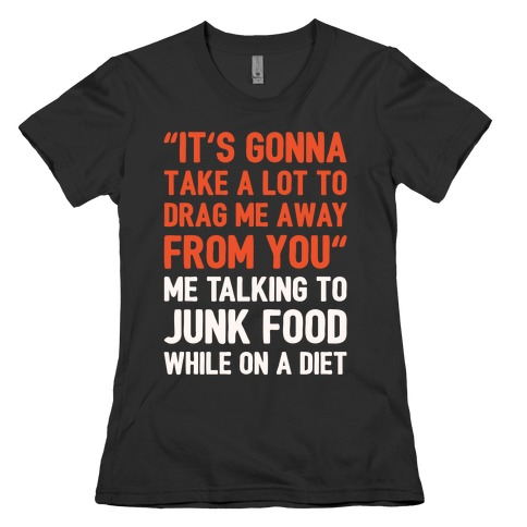 Toto Africa Junk Food Parody White Print Womens T-Shirt