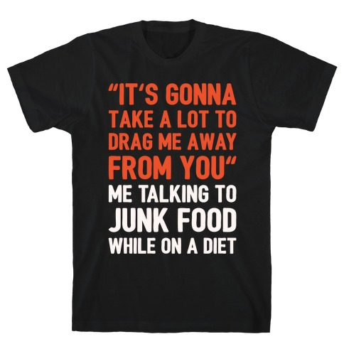 Toto Africa Junk Food Parody White Print T-Shirt