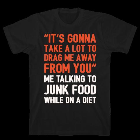 Toto Africa Junk Food Parody White Print Mens T-Shirt