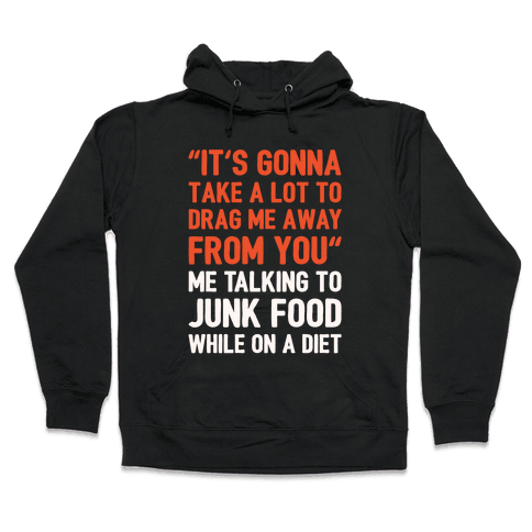 Toto Africa Junk Food Parody White Print Hooded Sweatshirt