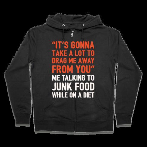 Toto Africa Junk Food Parody White Print Zip Hoodie