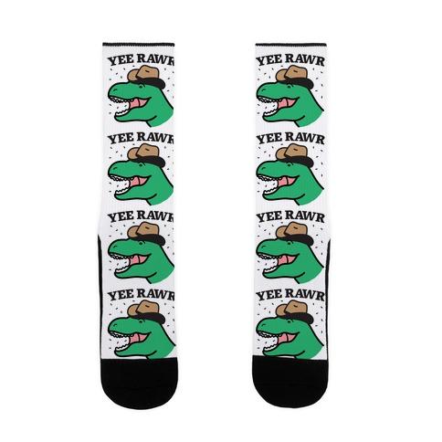 YEE RAWR Cowboy Dino Sock