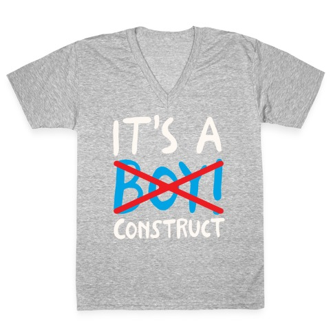 It's A Construct Boy Parody White Print V-Neck Tee Shirt
