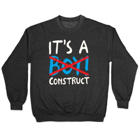It's A Construct Boy Parody White Print Pullover