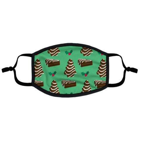 Holiday Tree Cake Pattern (Chocolate) Flat Face Mask