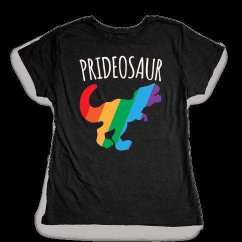 Prideosaur White Print  Womens T-Shirt