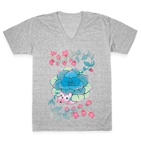 Hedgehog Succulent V-Neck Tee Shirt