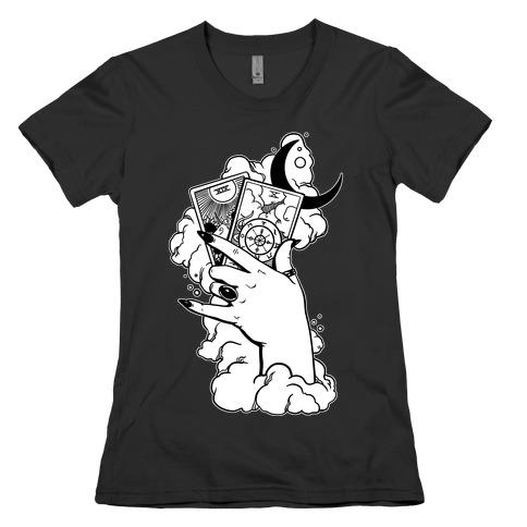 Hand Holding Tarot Cards Womens T-Shirt