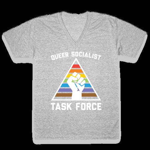 Queer Socialist Task Force V-Neck Tee Shirt