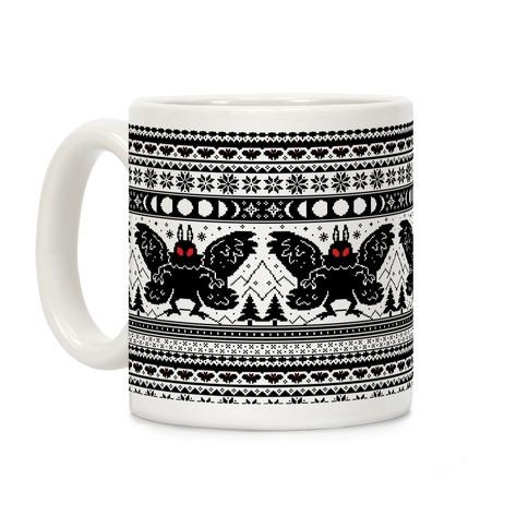 Mothman Ugly Sweater Pattern Coffee Mug