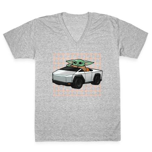 Baby Yoda in a Cyber Truck V-Neck Tee Shirt