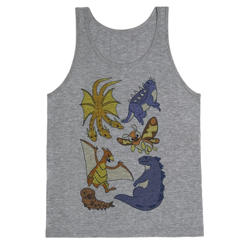 Godzilla and Friends Pattern Tank Top