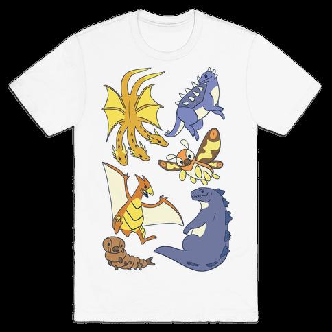 Godzilla and Friends Pattern Mens T-Shirt