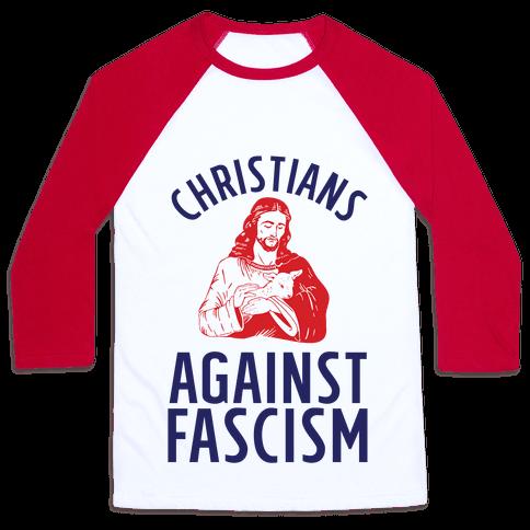 Christians Against Fascism Baseball Tee