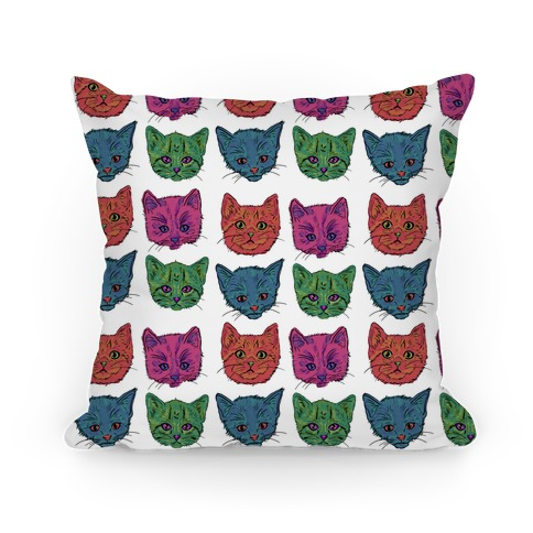 Colorful Kitten Square Pattern Pillow