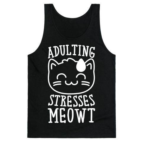 Adulting Stresses Meowt White Print Tank Top