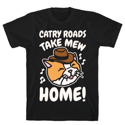 Catry Roads Take Mew Home Parody White Print T-Shirt