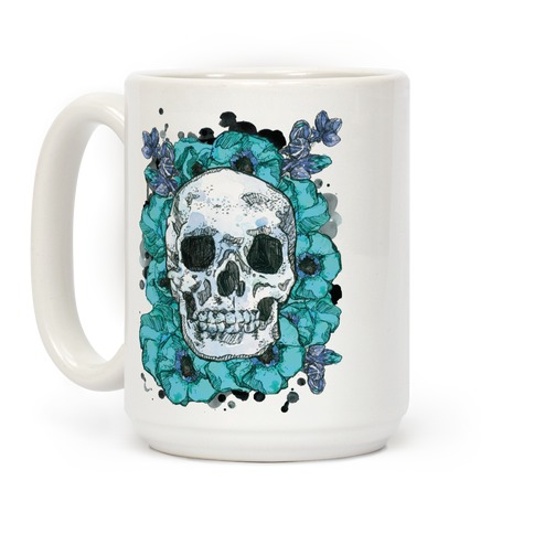 Skull on a Bed of Poppies Blue Coffee Mug