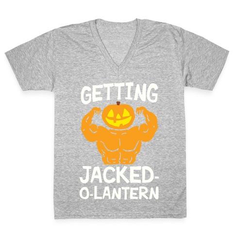 Getting Jacked-O-Lantern V-Neck Tee Shirt