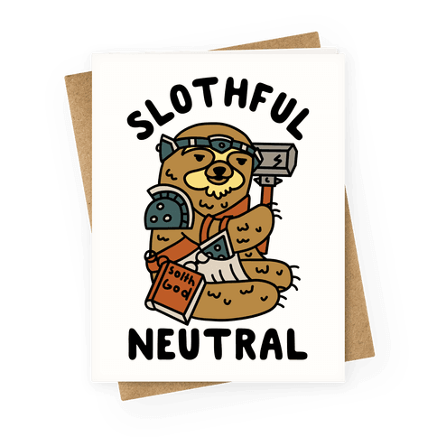 Slothful Neutral Sloth Cleric Greeting Card