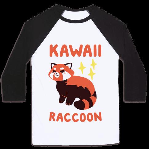 Kawaii Raccoon - Red Panda Baseball Tee