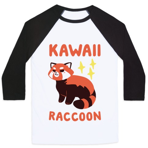 Kawaii Raccoon - Red Panda Baseball Tee