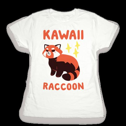 Kawaii Raccoon - Red Panda Womens T-Shirt