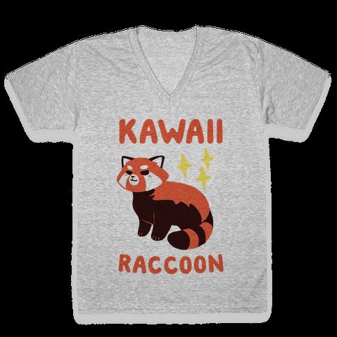 Kawaii Raccoon - Red Panda V-Neck Tee Shirt