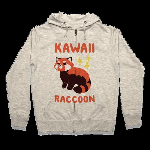 Kawaii Raccoon - Red Panda Zip Hoodie