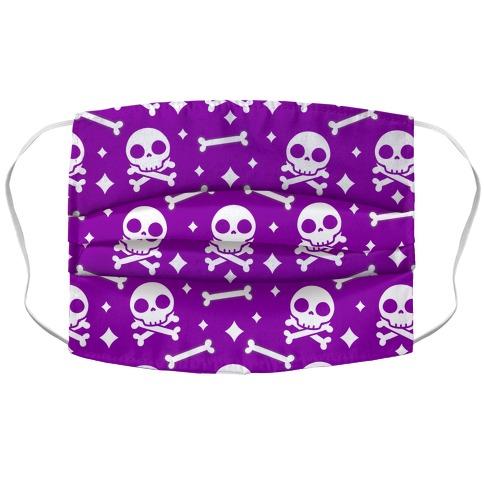 Cute Skull N' Bones Pattern (Purple) Accordion Face Mask