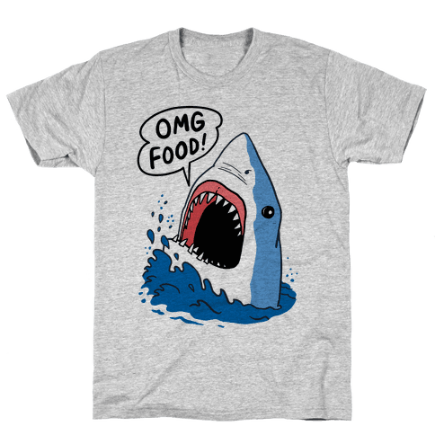 Omg Food Shark Mens T-Shirt