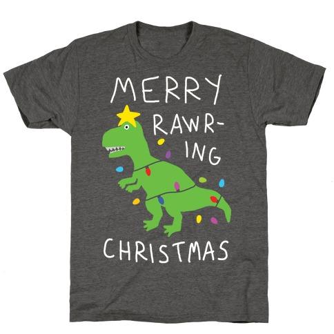 Merry Rawring Christmas Dinosaur T-Shirt