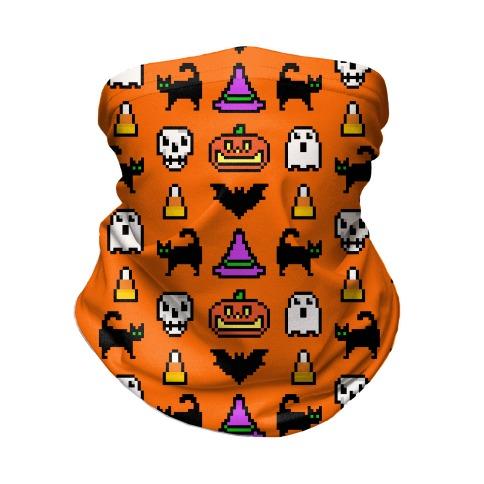 Pixel Halloween Pattern Neck Gaiter