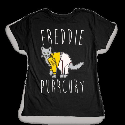 Freddie Purrcury Cat Parody White Print Womens T-Shirt
