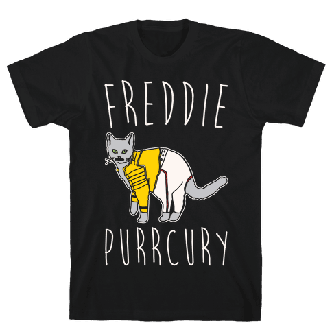 Freddie Purrcury Cat Parody White Print Mens T-Shirt