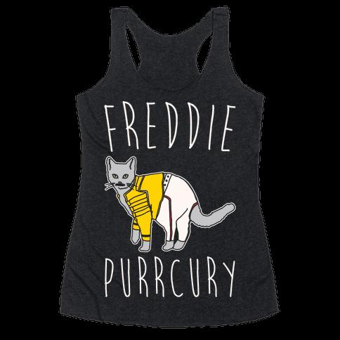 Freddie Purrcury Cat Parody White Print Racerback Tank Top