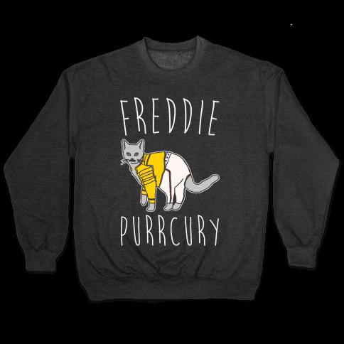 Freddie Purrcury Cat Parody White Print Pullover