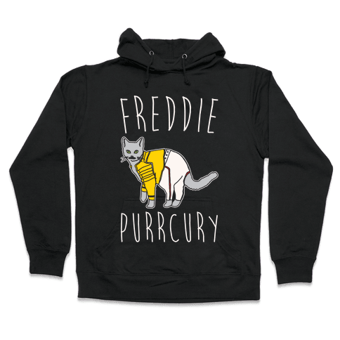 Freddie Purrcury Cat Parody White Print Hooded Sweatshirt