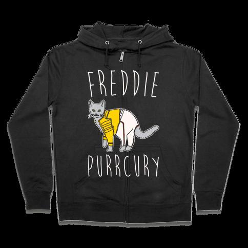 Freddie Purrcury Cat Parody White Print Zip Hoodie