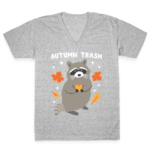Autumn Trash Raccoon V-Neck Tee Shirt