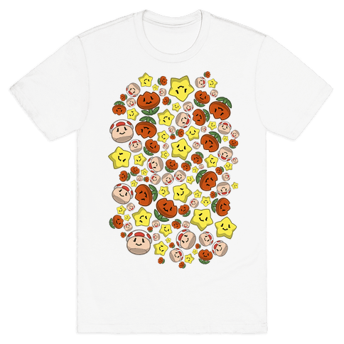 Stuffed Powerups Pattern Mens/Unisex T-Shirt