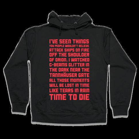 C-Beams Speech Tears In Rain Monologue Hooded Sweatshirt