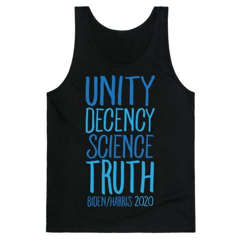 Unity Decency Science Truth Biden Harris 2020 White Print Tank Top