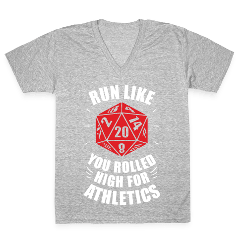 Run Like You Rolled High For Athletics V-Neck Tee Shirt