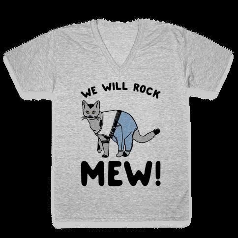 We Will Rock Mew Parody V-Neck Tee Shirt